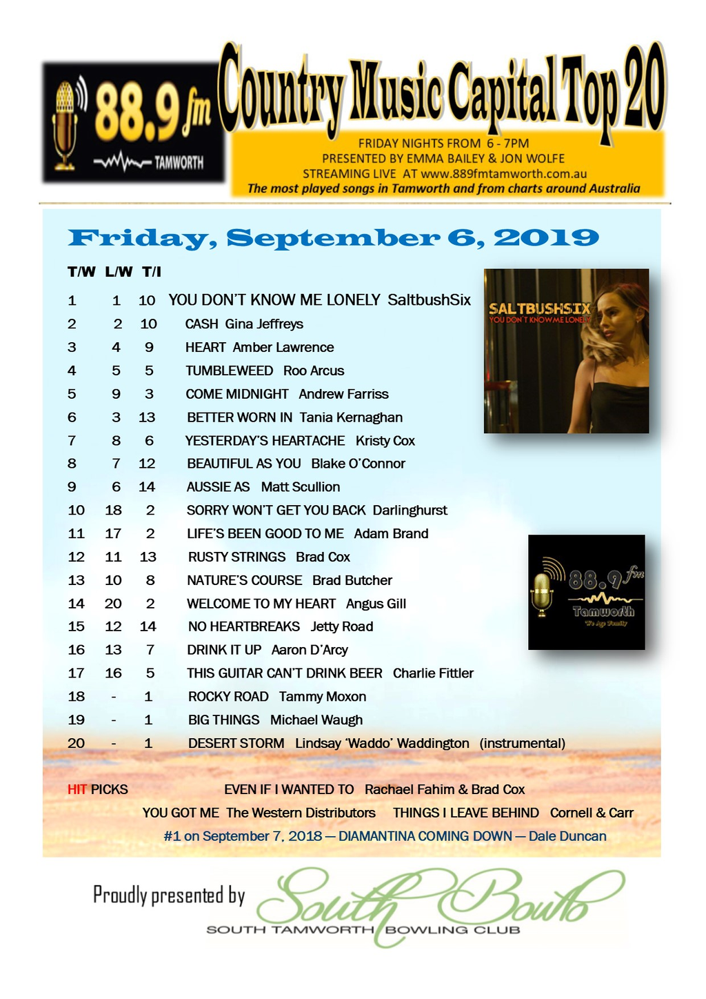 Country Top 20 >> Country Music Capital Top 20 September 6 2019