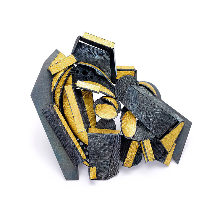 Rock Mountain Brooch... Finegold,steel...65x80x15Dmm... Private collection