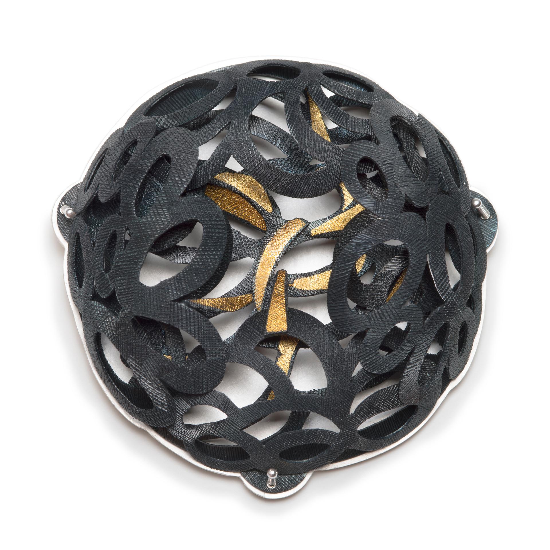 Moon flower brooch.....fine gold,fine silver,sterling silver, steel....70x70x20(D)mm