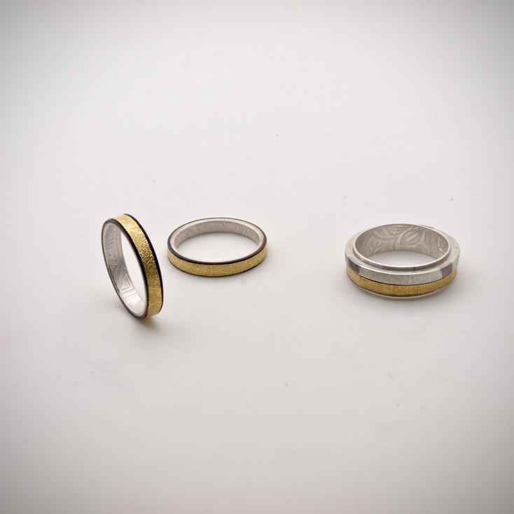 Chogak Rings.......fine gold, fine silver.....monel