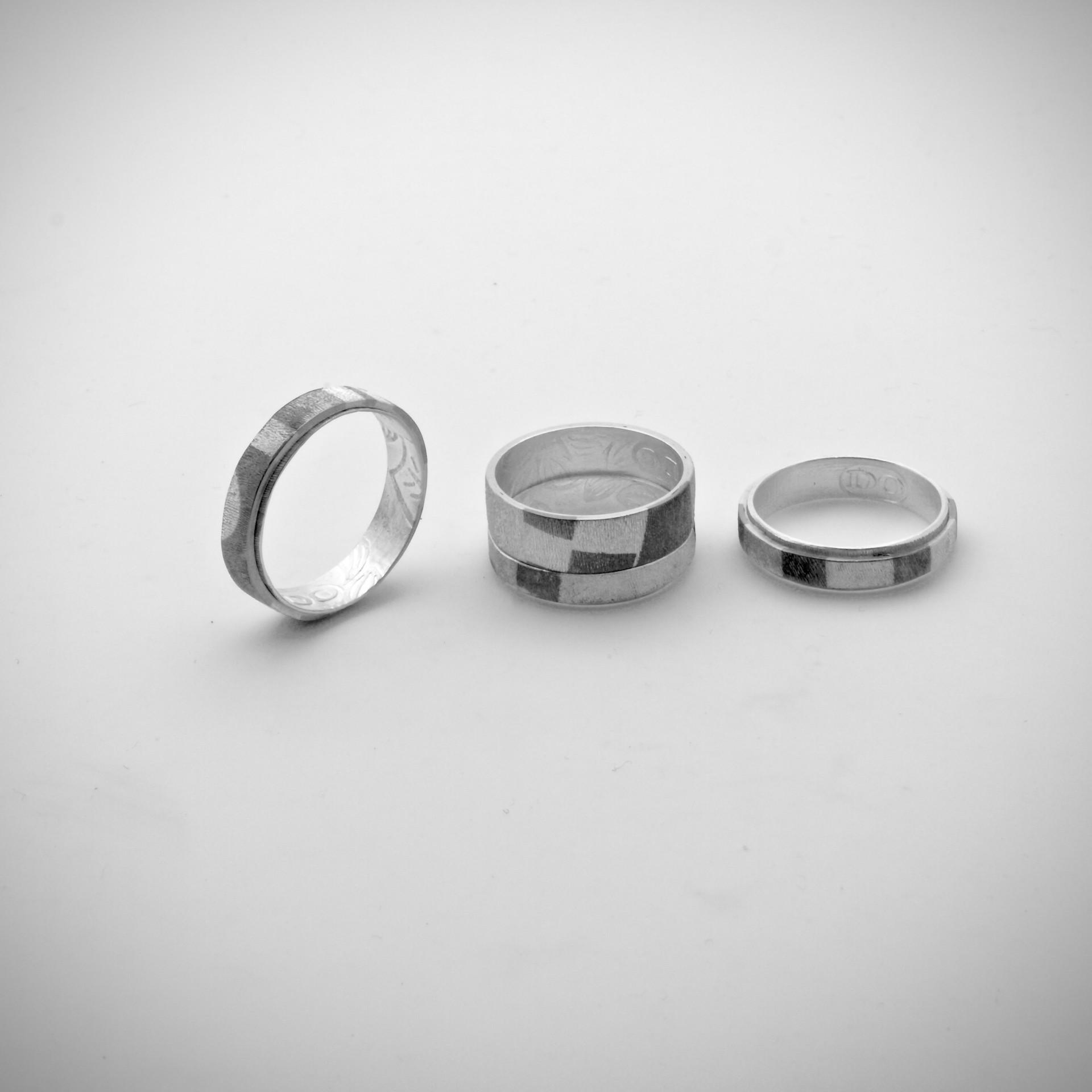 Chogak Rings.....fine silver, monel