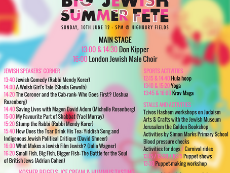 Full programme announced for The Big Jewish Summer Fete