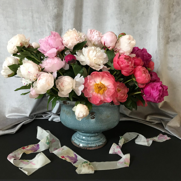 Bowl of peonies