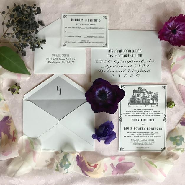 Vintage Custom Wedding Invitation - Letterpress
