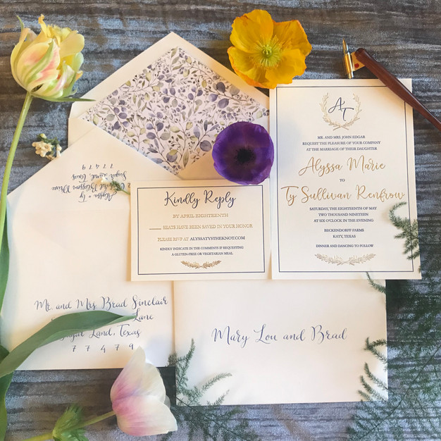 Gold Foil + Letterpress Custom Wedding Invitation