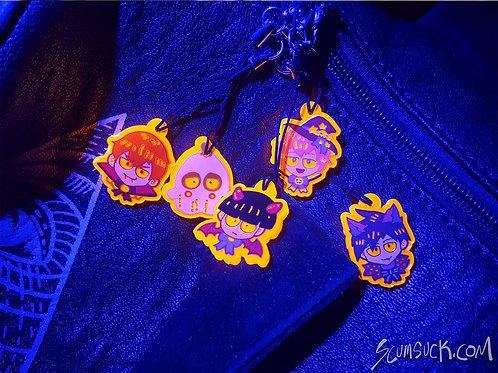 MP100: Halloween charms Dimple, Ritsu, and Teru left)