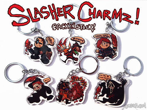 Horror Slasher Charms / Keychains: S1! (jason/fred/chuck/mike/bubba/ghost)