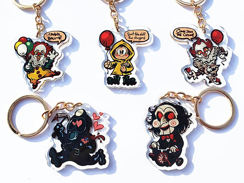 Horror Slasher Charms / Keychains: S3!  (pennywise/georgie/billy/miner)