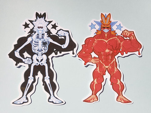 All Might muscle n'skeleton stickers