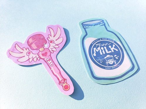 Magical Girl Wand + Mad Milk Stickers