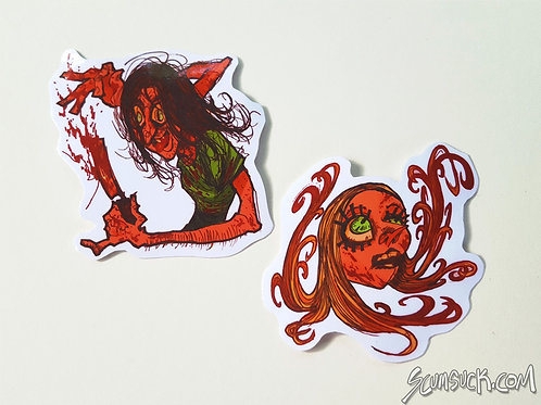 Sally and Nubbins Texas Chainsaw stickers