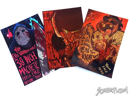 Jason, Freddy, & Leatherface Valentines postcard prints (4x6)