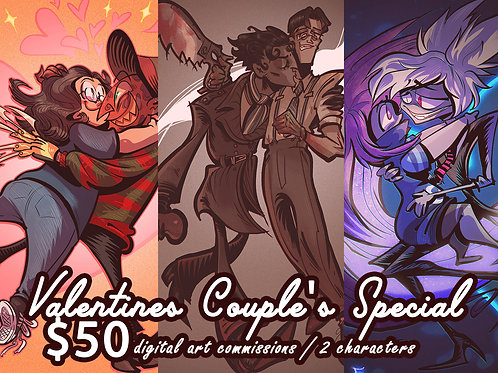 Digital Commissions: Valentines Day Couple Art