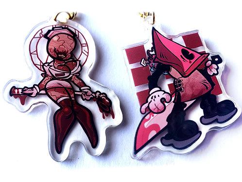 """Pyramid Head and Nurse 2"""" acrylic charms!"""