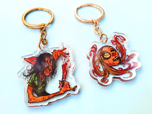 "TCM: Sally + Hitchhiker 2"" acrylic charms!"