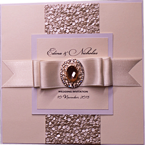 Luxury Wedding Invitations Embossed Design in Ivory