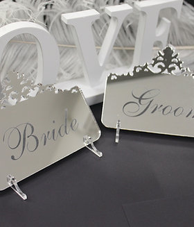Silver Mirror Acrylic Place Cards