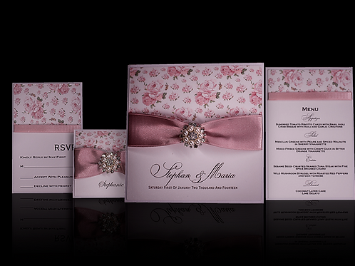 Blush Wedding Invitations with Pearl Brooch and Vintage Roses