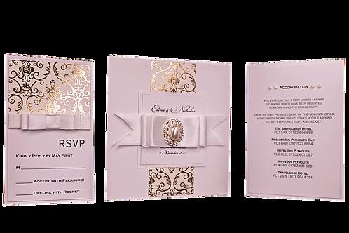 Gold Rhinestone Wedding Invitations