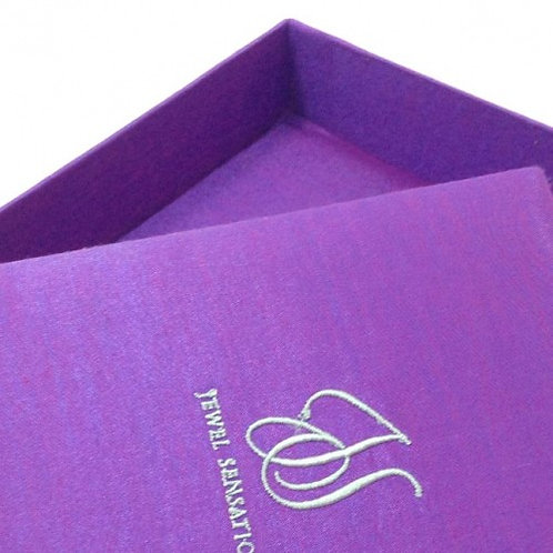 Silk Box for Invitations with Embroidery Monogram in Purple