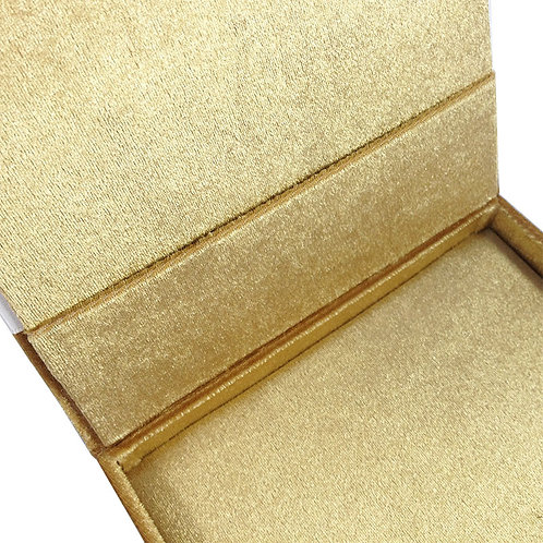 Luxury Silk Boxes for Wedding Invitations in Gold with Pearl Embellishment