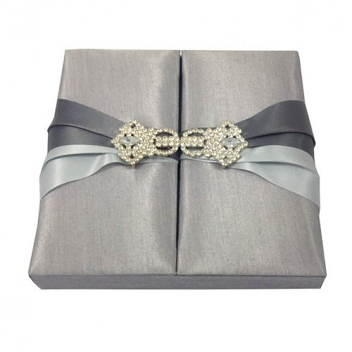 Bespoke Wedding Invitations Silk Box Grey Color