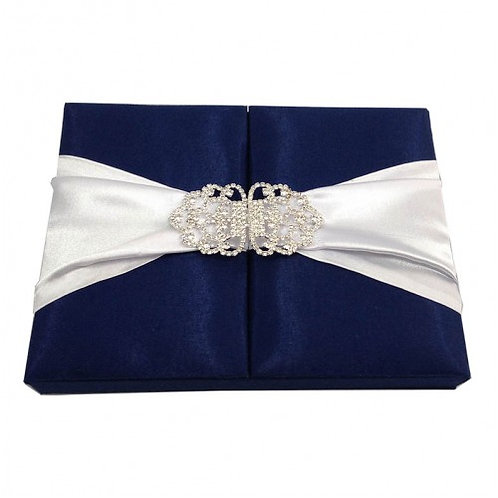 Navy Silk Box for Wedding Invitations UK with Ivory Ribbon and Crystals