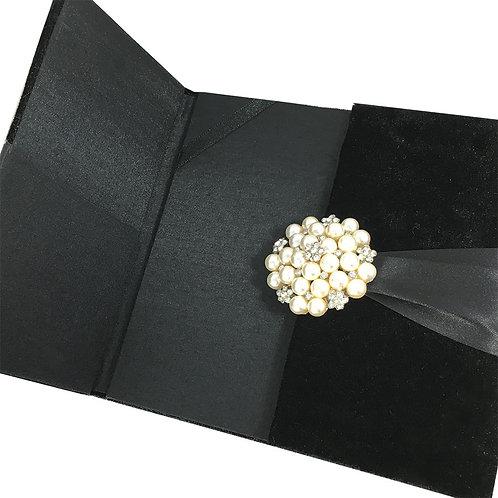 Velvet Wedding Invitation Box in Black