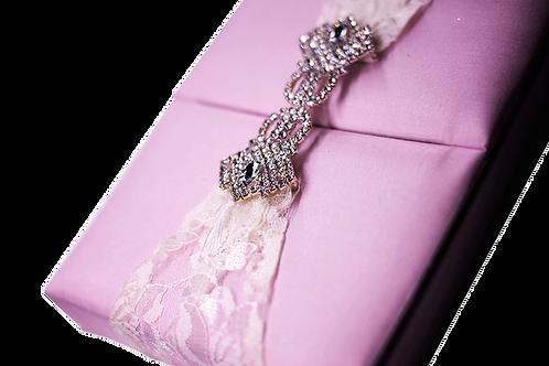 Pink Silk Box For Wedding Invitations with Rhinestone Embellishment