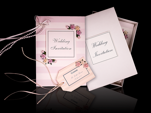Striped Wedding Invitations Vintage Style