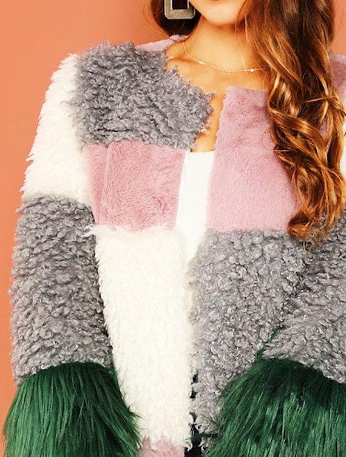 Unique Multicolored Fur Coat