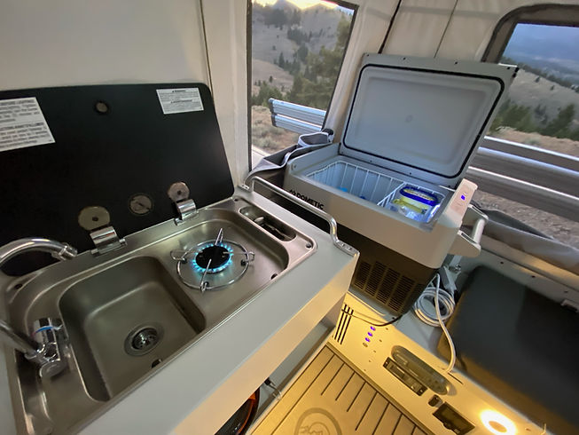 sink, cooktop, and refrigerator