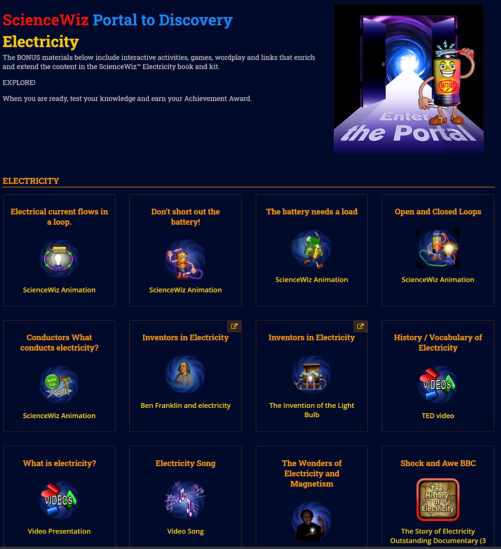 screenshot of science wiz project options
