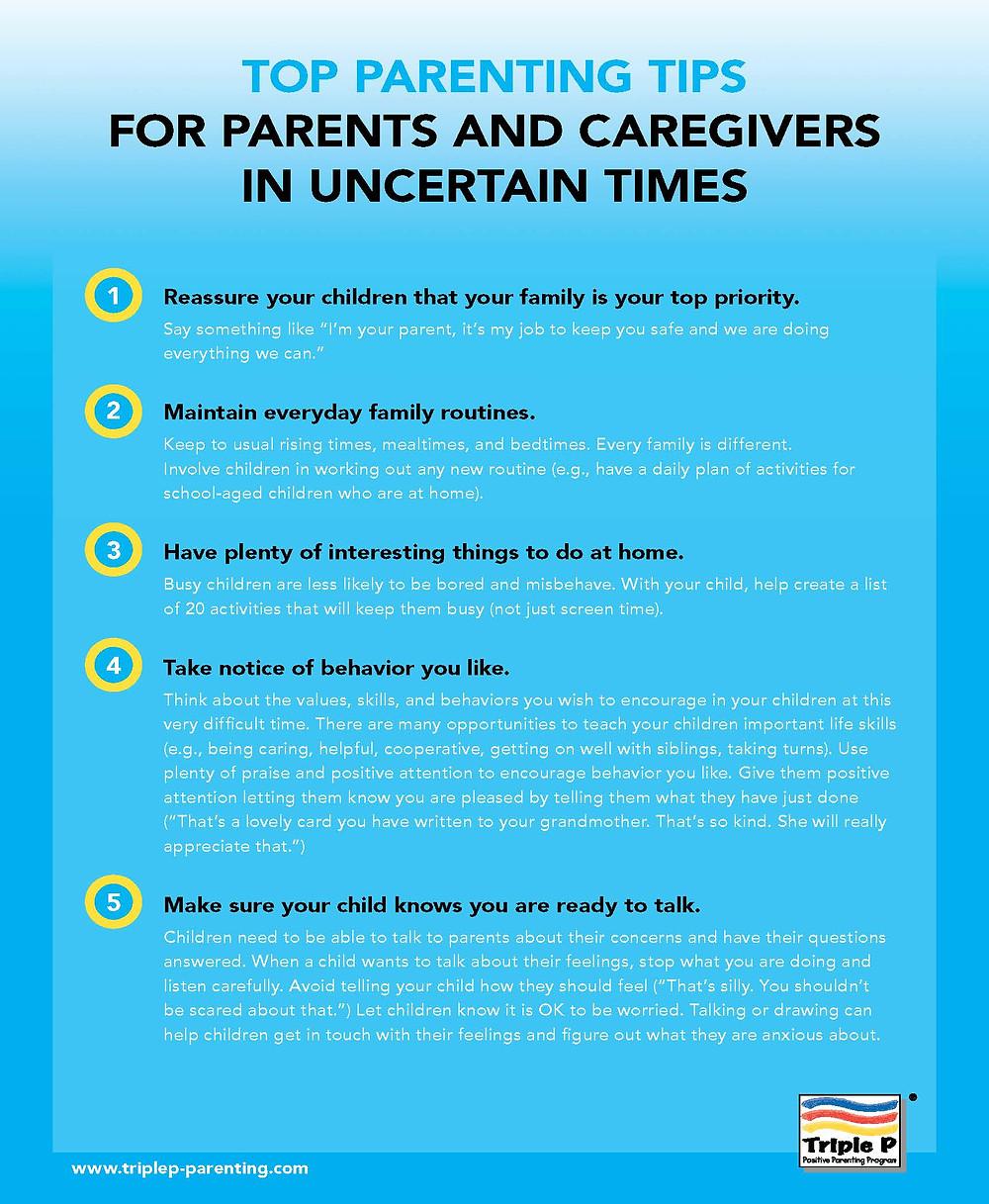 top ten parenting tips graphic