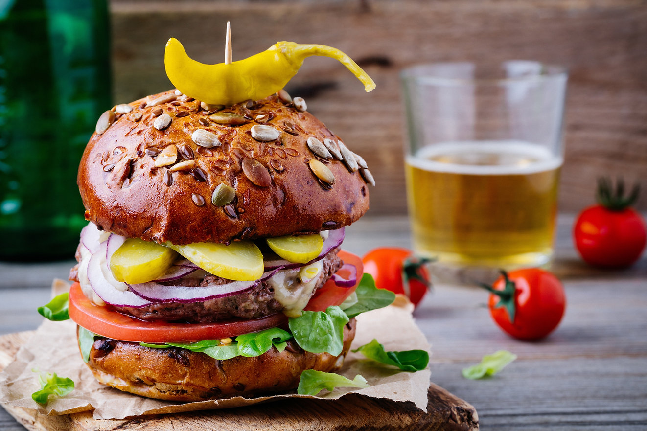 homemade-burger-with-whole-grain-bun-and