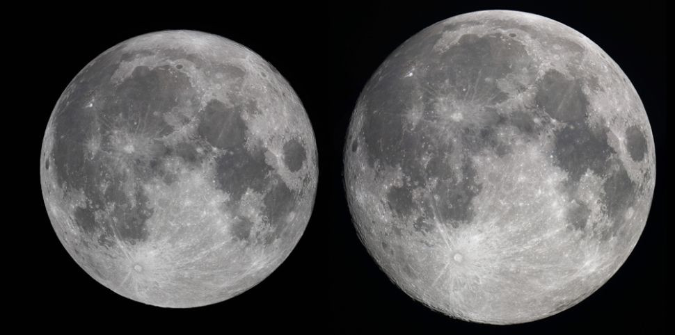 two photos of the moon