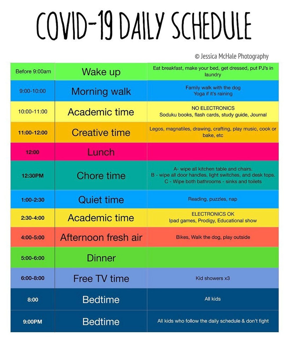 example of a covid-19 daily schedule for homeschooling