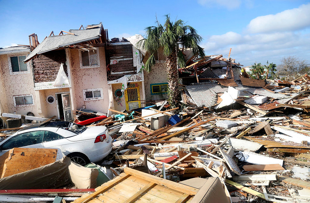 Photo of destroyed homes