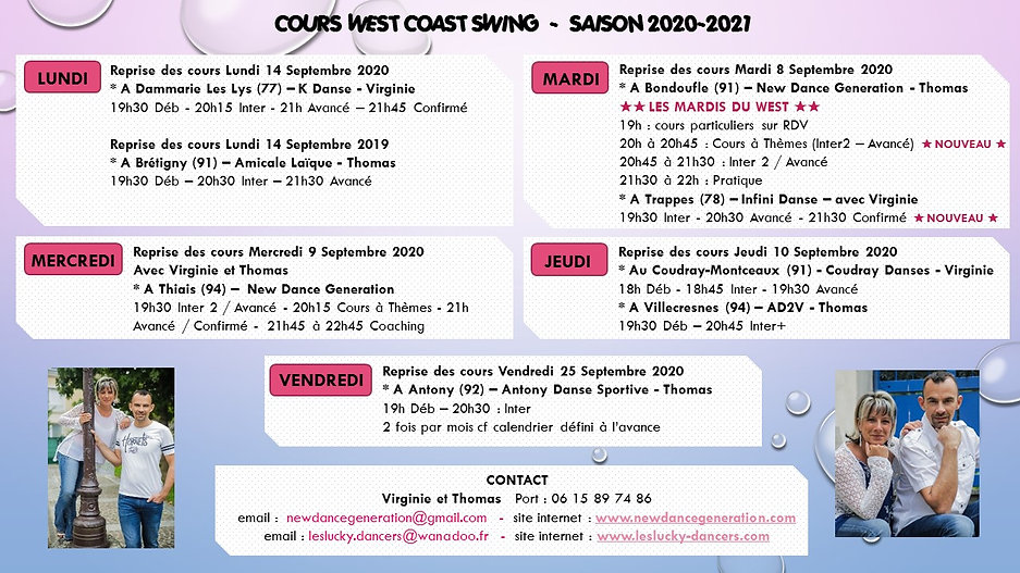 COURS WEST COAST SWING SAISON 2020-2021.