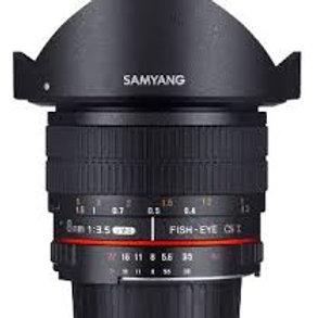 Samyang AE 8mm f3.5 Fish-eye CS II with hood Nikon
