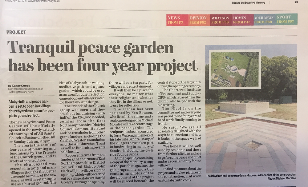 Coverage in the Stamford Mercury, 20th July