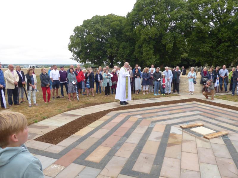 Bishop John Flack dedicates the Labyrinth