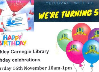 Walkley Carnegie Library birthday celebrations, Saturday 16th November 2019 10am-1pm