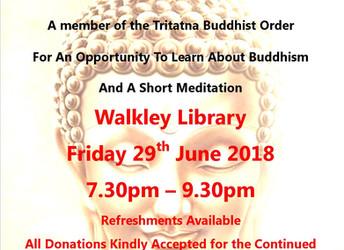 Buddhism evening, Friday 29 June 2018 (Walkley Festival 2018)