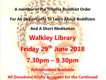 Buddhism evening, Friday 29 June 2018 (Walkley Festival 2018)