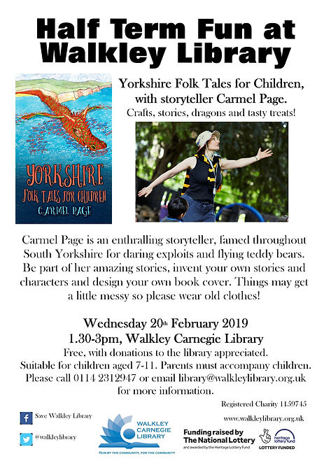 Yorkshire Folk Tales for children, Wednesday 20 February 2019