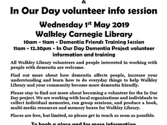 "Dementia Friends Training & ""In Our Day"" volunteer info session, Wednesday 1 May 2019"