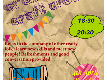 Walkley Library evening craft club, Tuesday 4th April 2017