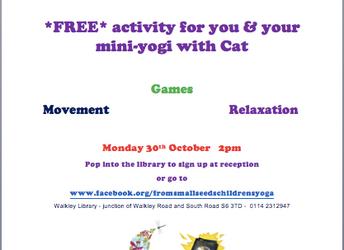 Half term yoga fun, Monday 30 October 2017