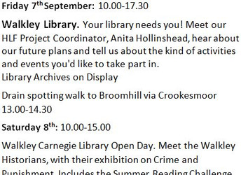 Walkley's Heritage Open Days, 7-9 & 14-16 September 2018
